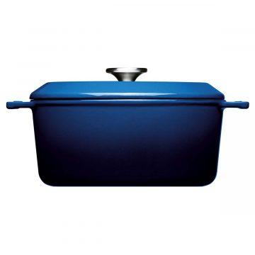 Cocotte de hierro fundido de 24 cm con tapa – Woll Azul Cobalto – Perfil – Cuchillalia