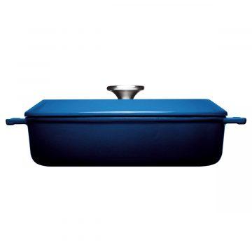 Cocotte de hierro fundido de 28 cm con tapa – Woll Azul Cobalto – Perfil – Cuchillalia