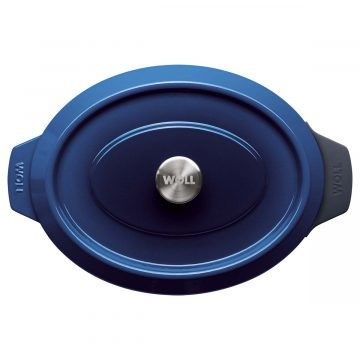 Rustidera de hierro fundido de 34×26 cm con tapa con las asas de silicona puestas – Woll Azul Cobalto – Planta – Cuchillalia