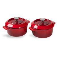 Set de 2 minicocottes de hierro fundido de 10 cm con tapa - Woll Rojo Chili - Cuchillalia