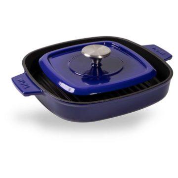 Parrilla de hierro colado de 24×24 cm con tapa – Woll Azul Cobalto – Cuchillalia