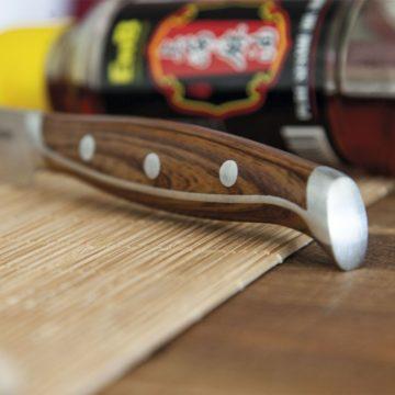 Set de 4 cuchillos chuleteros 3 Claveles Wagyu 1048 – Detalle del mango – Cuchillalia