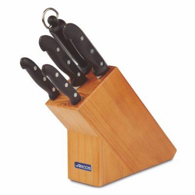 Juego de 4 cuchillos y chaira en taco de madera - Arcos Maitre - Cuchillalia