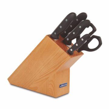 Juego de 4 cuchillos y tijeras de cocina en taco de madera – Arcos Maitre – Cuchillalia