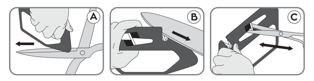 Modo de uso del afilador para cuchillos y tijeras 3 Claveles 9426 - Cuchillalia